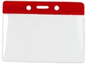 Picture of Card holder/carrying case soft plastic 86 x 54 mm. red top/clear (horizontal/landscape)