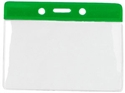 Picture of Card holder/carrying case soft plastic 86 x 54 mm. green top/clear (horizontal/landscape)