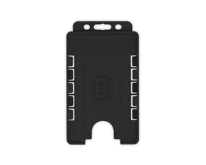 Picture of 2 sided/2 cards Bio Cardholder/carrying open face plastic black (vertical/portrait)