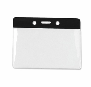 Picture of 90x65 mm Card holder / carrying case soft plastic. Black top / clear (horizontal / landscape)