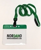 Picture of Card holder / carrying case soft plastic 86 x 54 mm. green top / clear with a green lanyard