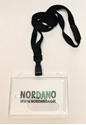 Picture of Cardholder / carrying case rigid plastic with lock frosted (horizontal / landscape) with a black lanyard